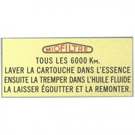 481510S AIR FILTER STICKER 'MIOFILTRE'