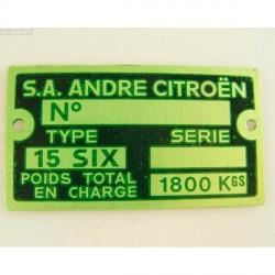 Placa numero de chasis