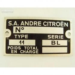 Placa numero chasis - 11BL