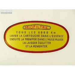 Pegatina filtro de aire Citroen DS Ant. 1965